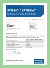 Poistenie certifikát